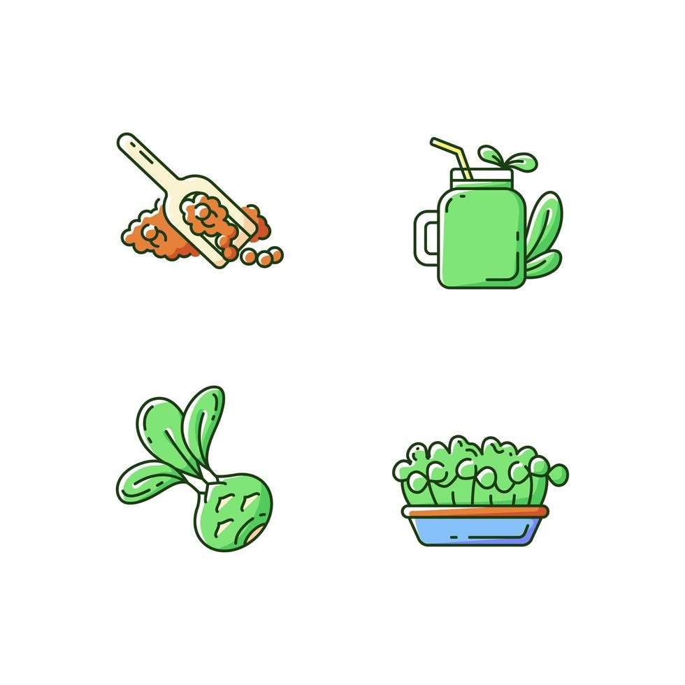 varietà di verdi, set di icone di colore rgb vettore