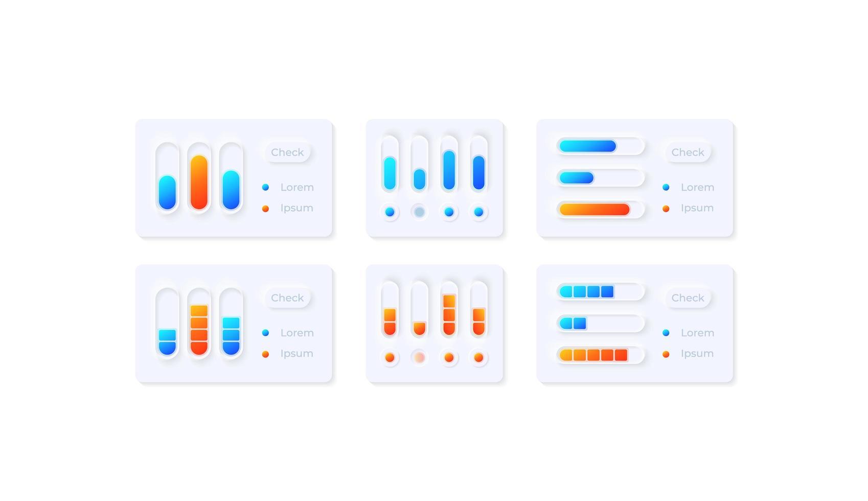 kit di elementi dell'interfaccia utente delle impostazioni multimediali vettore
