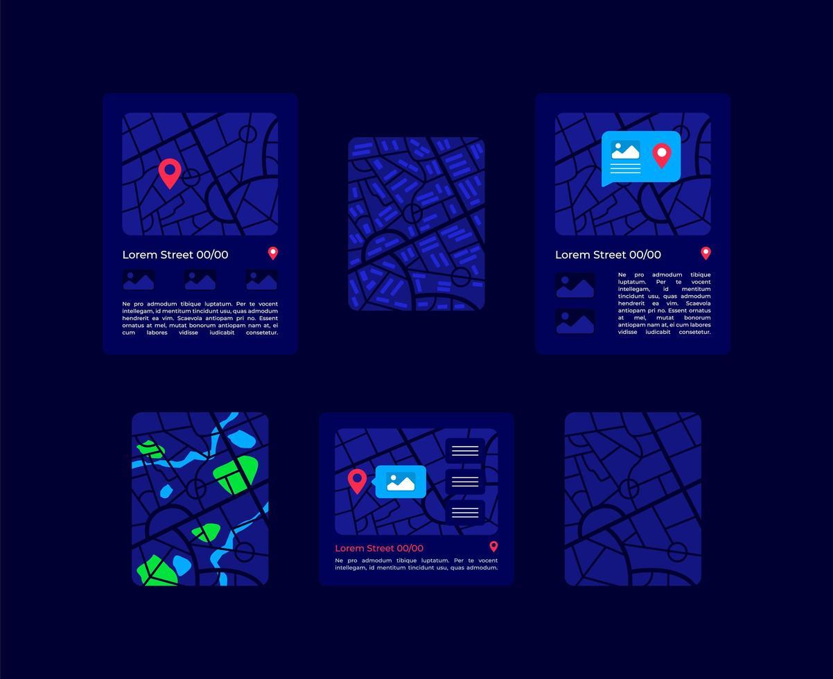 kit di elementi dell'interfaccia utente di mappe vettore