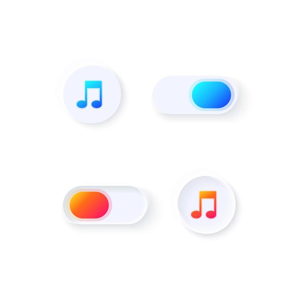 kit di elementi dell'interfaccia utente dell'interruttore musicale vettore