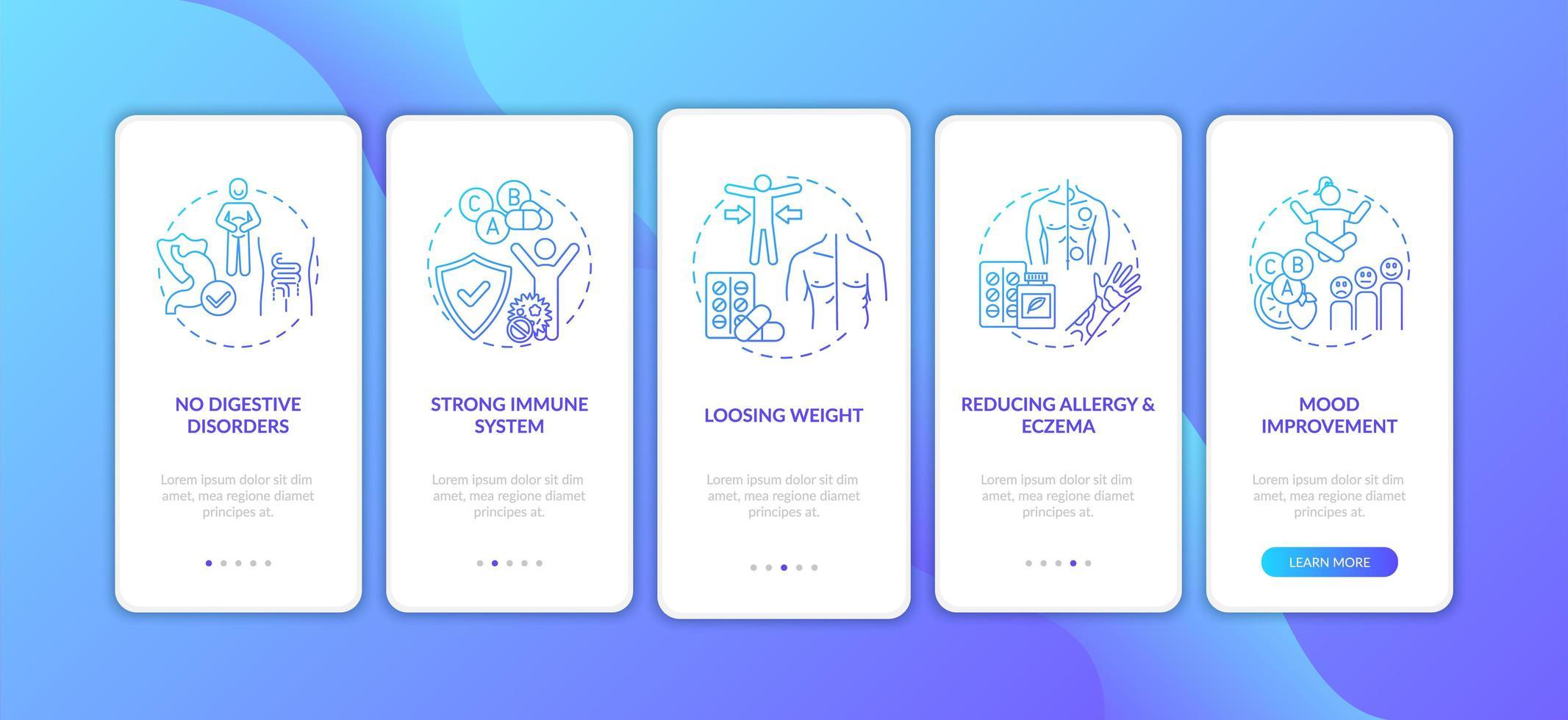 benefici dei probiotici, schermata della pagina dell'app mobile vettore