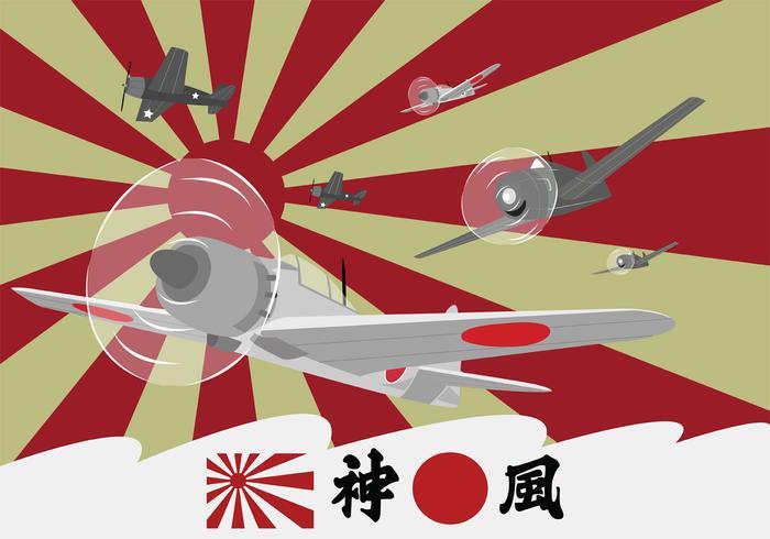 Kamikaze Planes alla seconda guerra mondiale vettore
