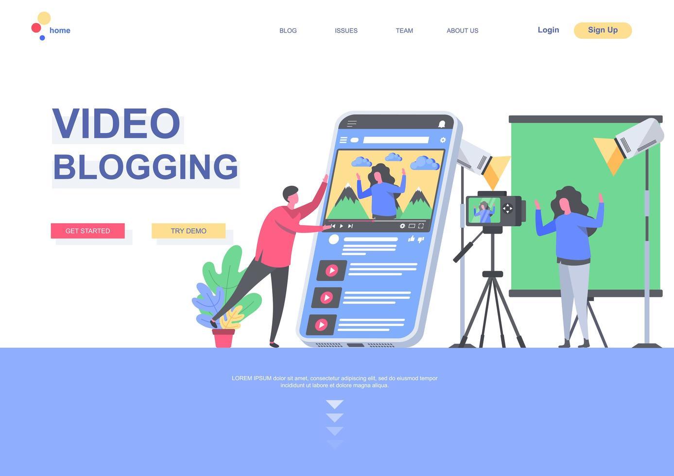 modello di pagina di destinazione piatta per video blogging vettore