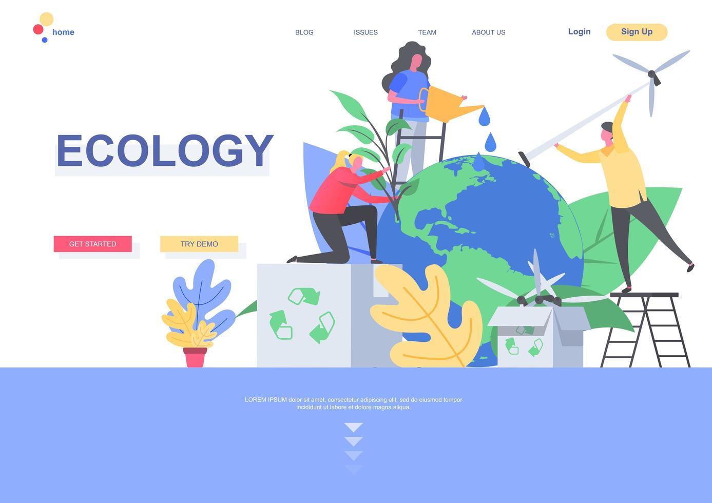 modello di pagina di destinazione piatta ecologia vettore
