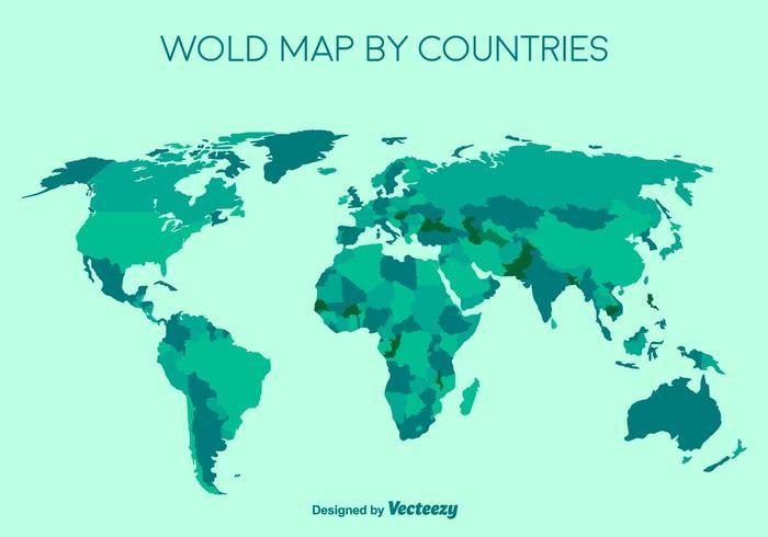 Mappa dettagliata del mondo verde vettoriale