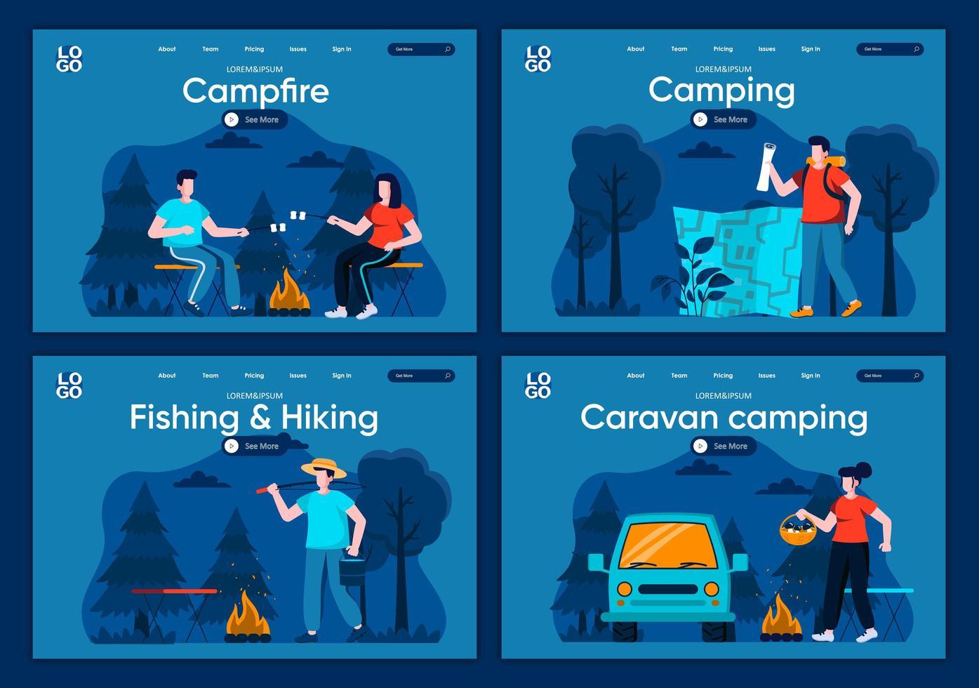 campeggio per roulotte, set di pagine di destinazione piatte vettore