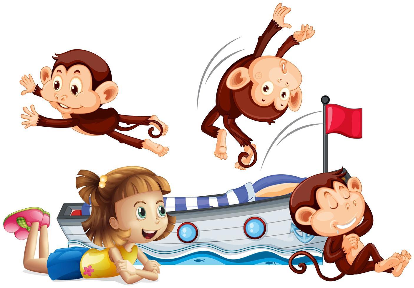 ragazza e scimmie felici che saltano sul letto vettore