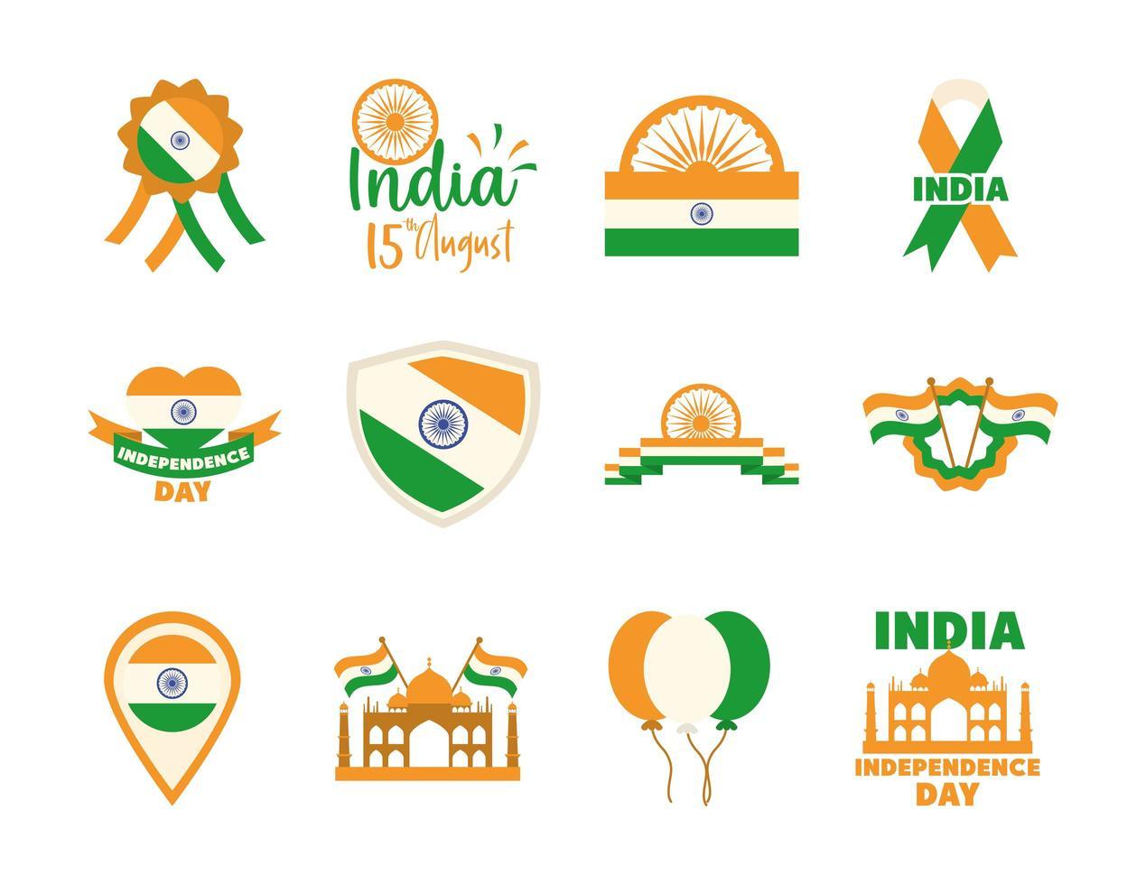set di icone del giorno dell'indipendenza dell'india vettore
