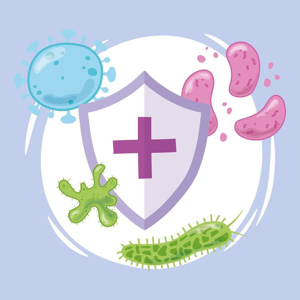 scudo medico con virus e batteri vettore
