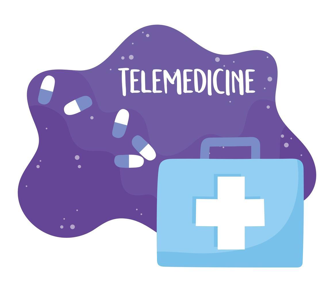 telemedicina e kit di pronto soccorso vettore