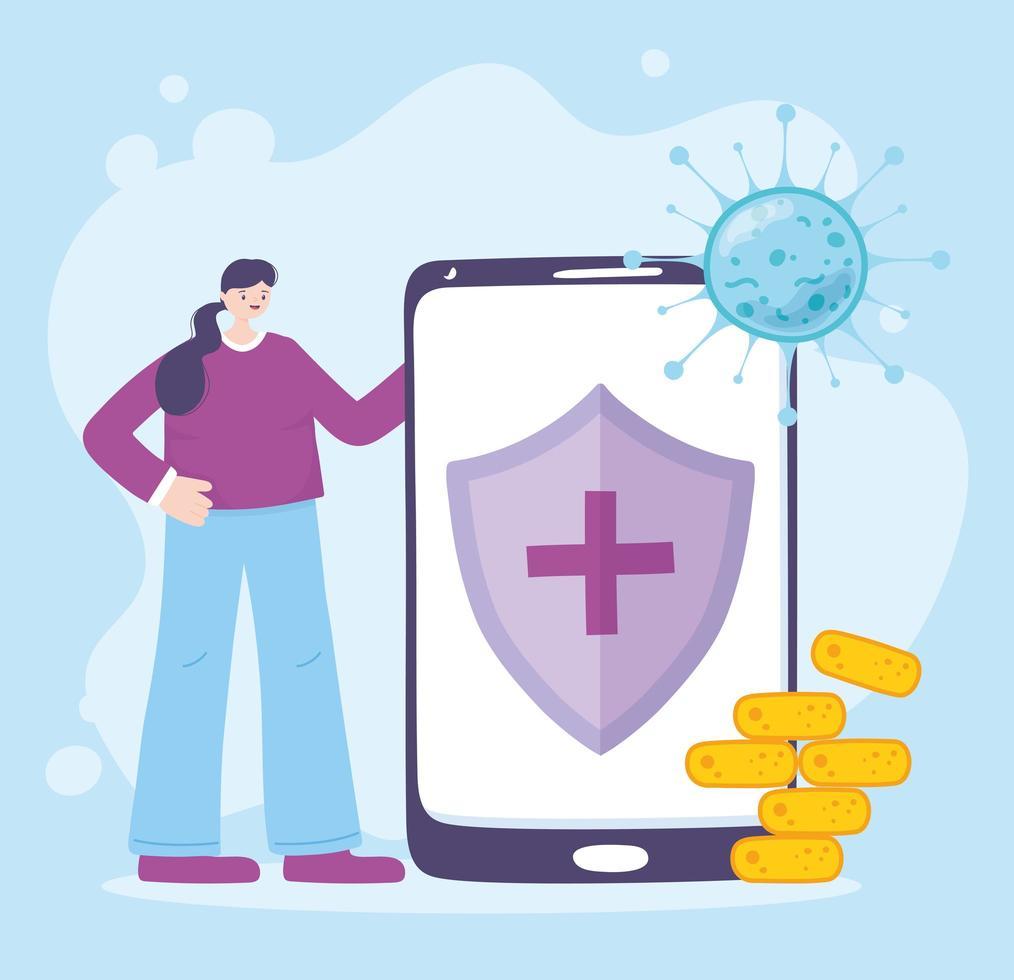 assistenza medica online tramite smartphone vettore