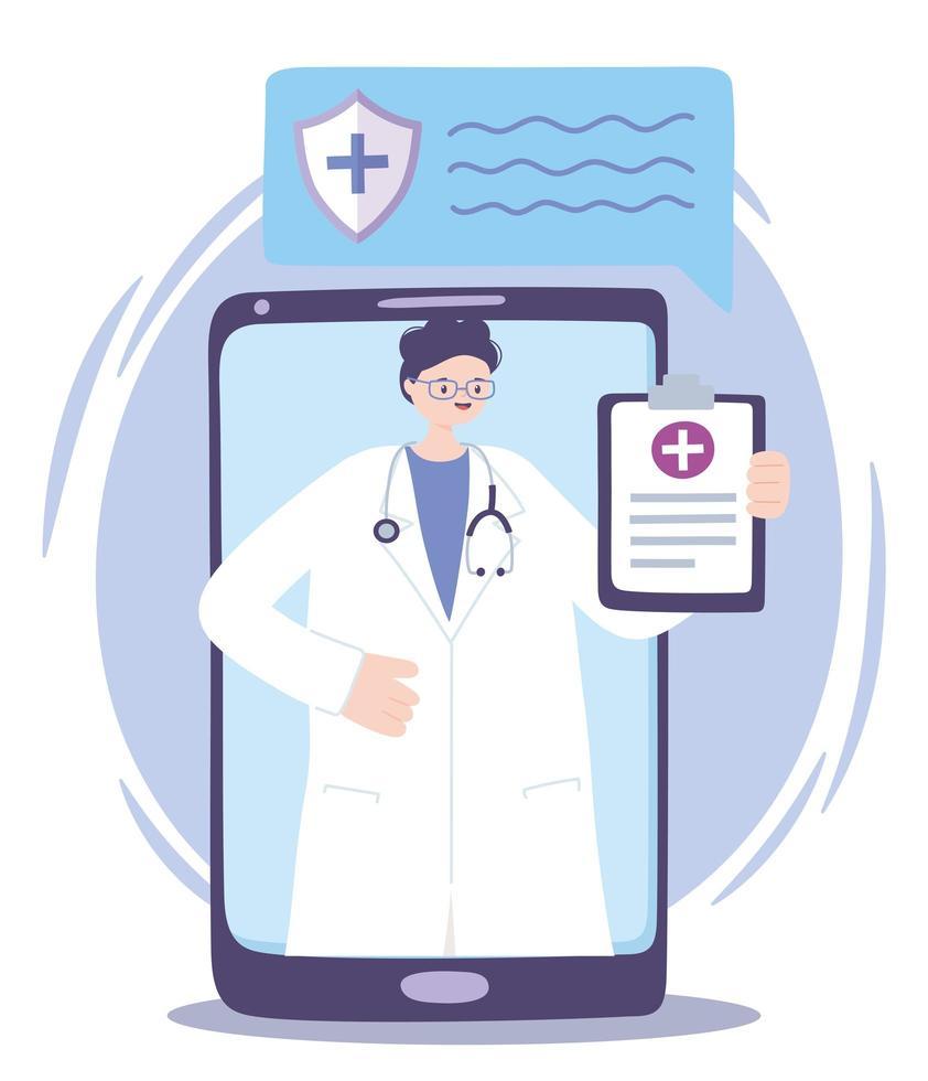 assistenza medica online con medico sullo smartphone vettore