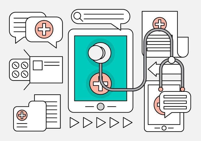 Icone mediche lineari per il web vettore