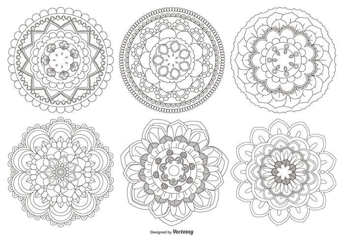 collezione di forme di fiori di mandala vettore