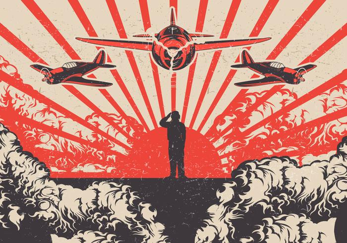 Aerei di Kamikaze e fondo di vettore di Soldier World War 2