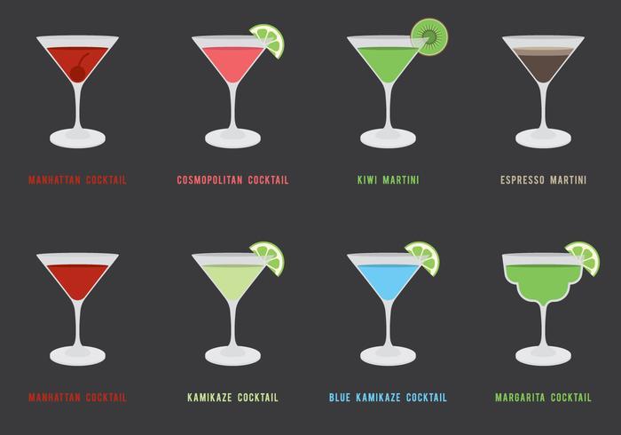 Set di icone di cocktail vettore