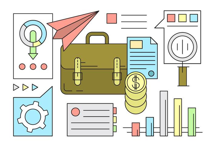 Icone gratis di affari e finanza in stile minimal vettore
