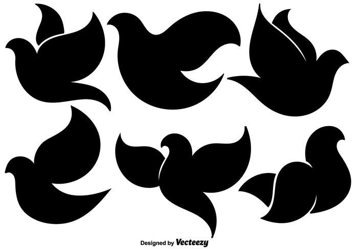 Set di icone piane di colomba nera vettore