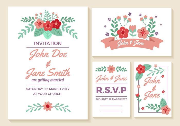 Vettore delle carte dell'invito di nozze