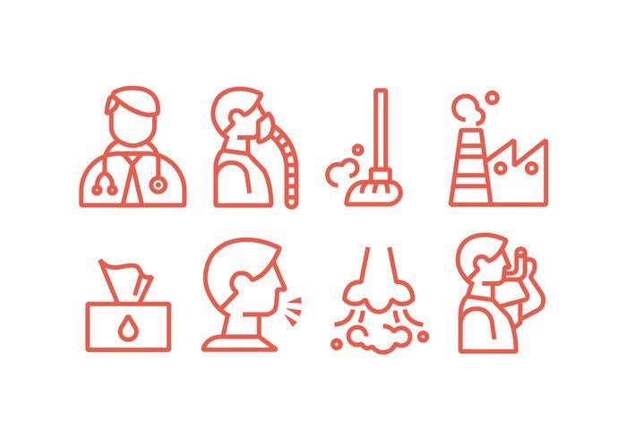 Icone di vettore di malattia polmonare e asma