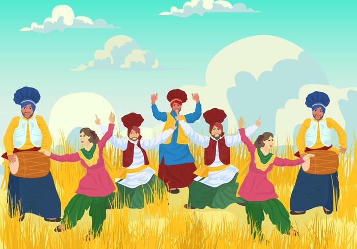 vettore di ballerini di bhangra