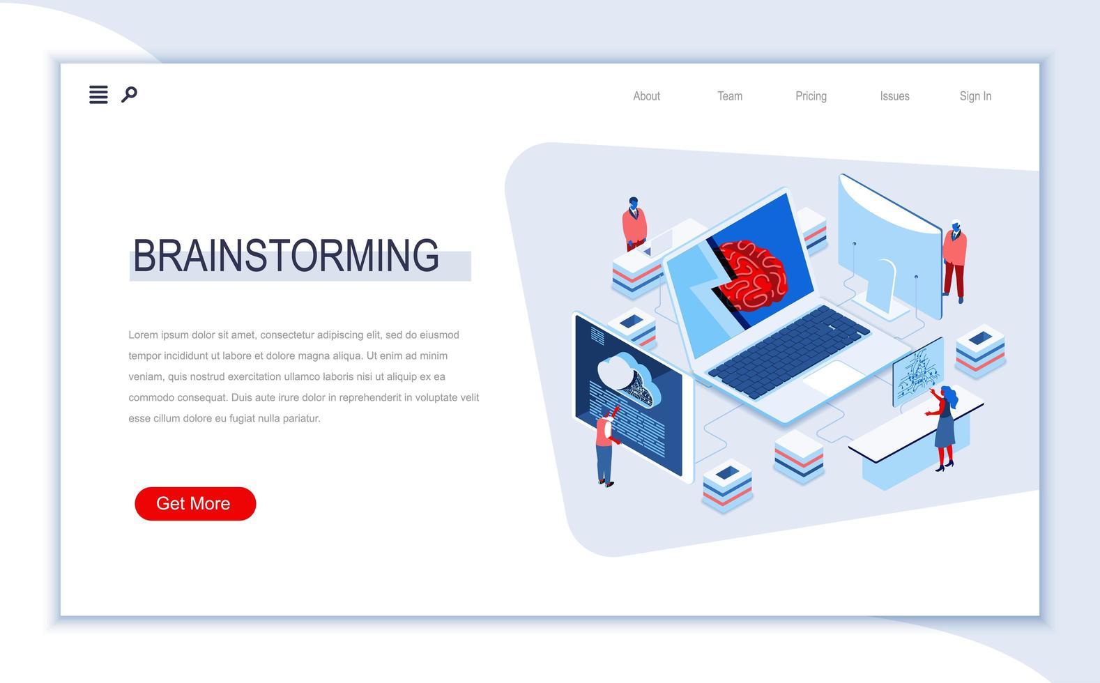 pagina di destinazione isometrica di brainstorming vettore