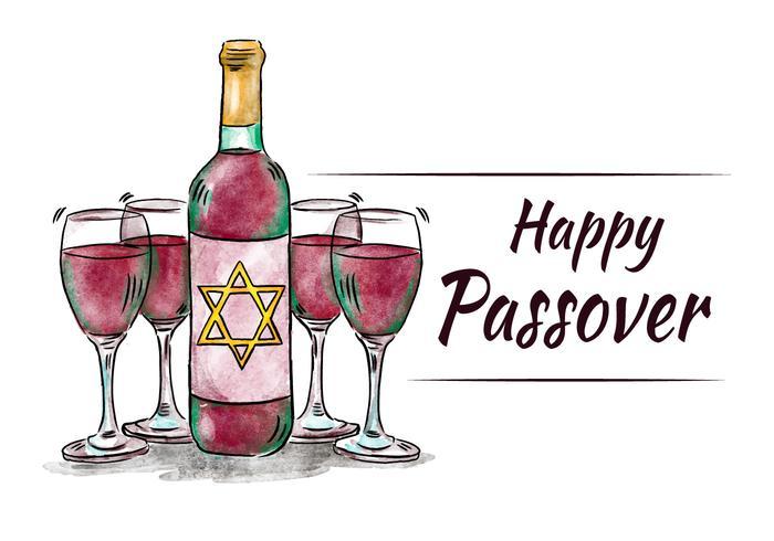 Diner Acquerello Passover con coppe e vino vettore