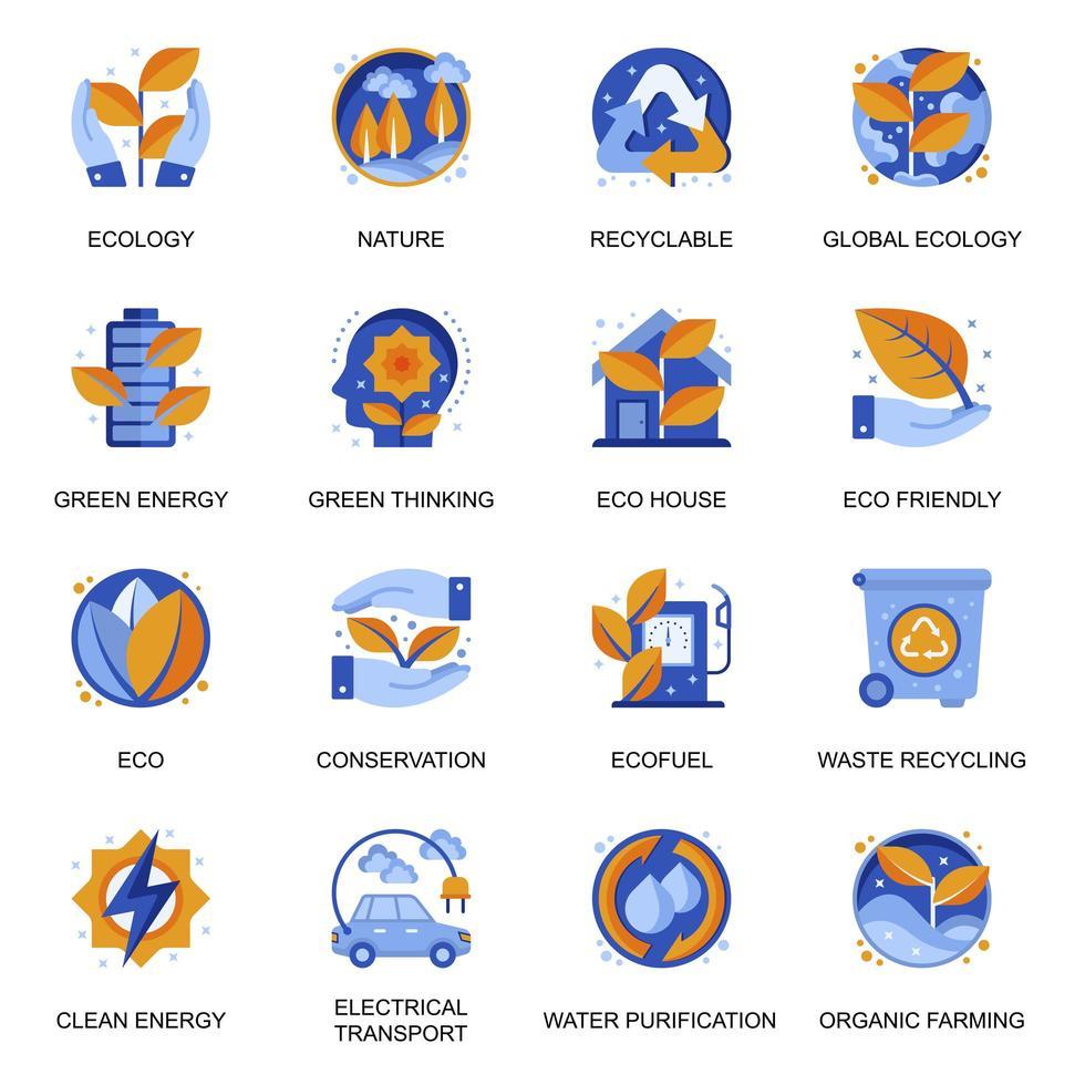 icone di ecologia impostate in stile piatto. vettore