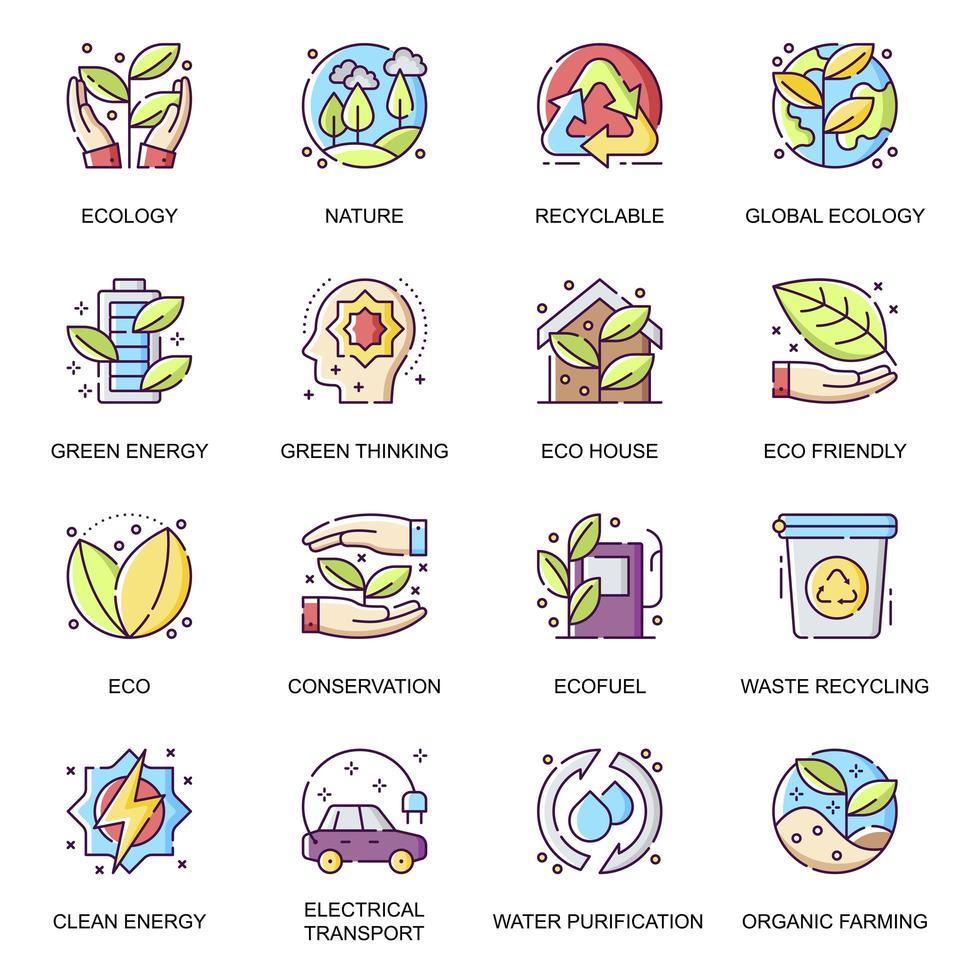 set di icone piane di ecologia globale. Riciclo dei rifiuti vettore