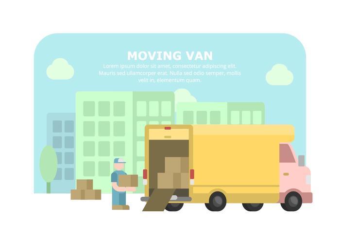 Illustrazione di van giallo in movimento vettore