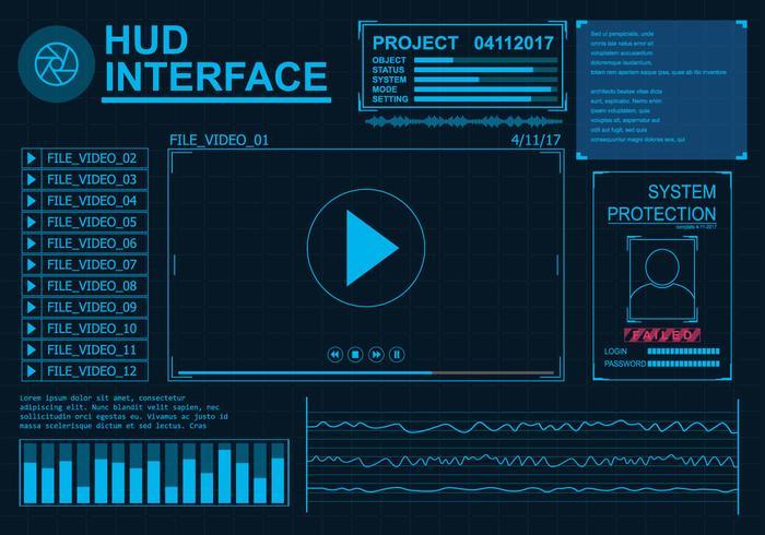 set di icone dell'interfaccia hud vettore