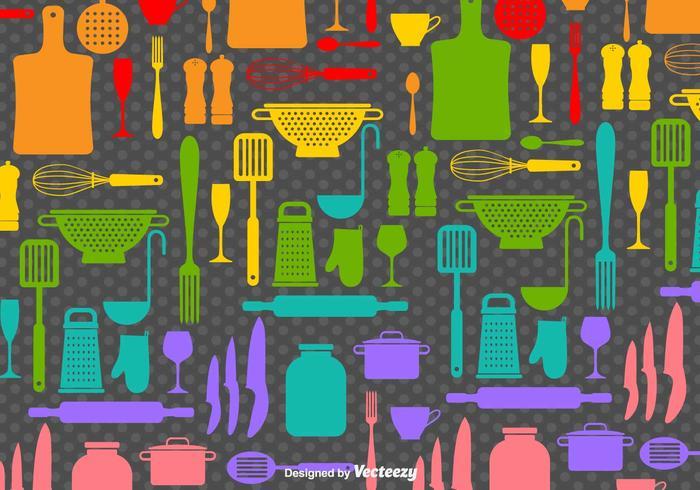 Icone piane di vettore di cucina arcobaleno