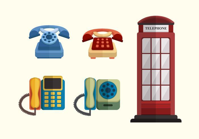 Raccolta di vettore di telefono classico piatto