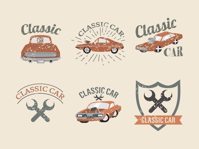 Pacchetto di vettore di etichetta classica auto d'epoca