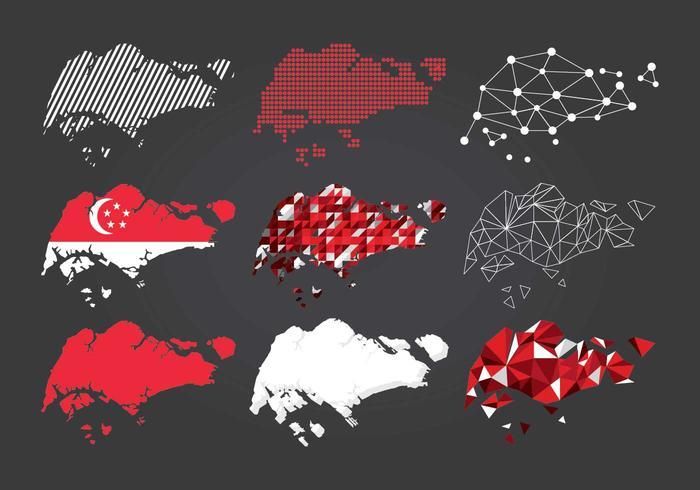 Tipo di mappa di Singapore vettore