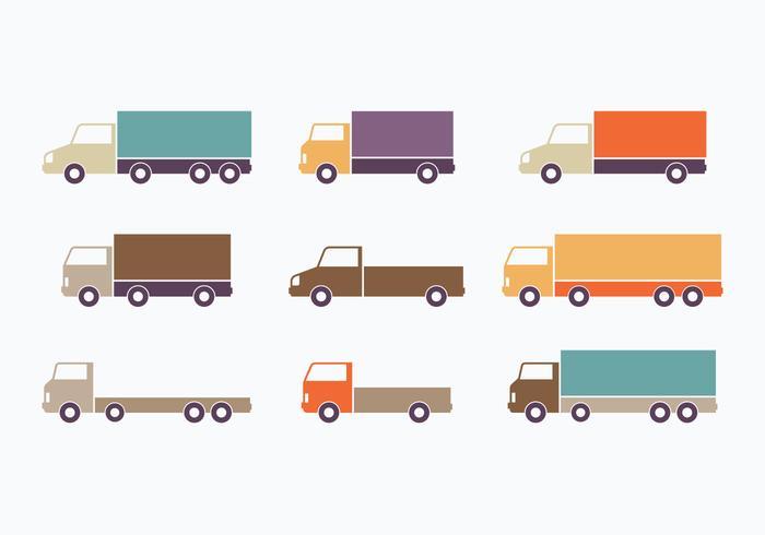 Raccolta di Van in movimento stile piatto colorato vettore