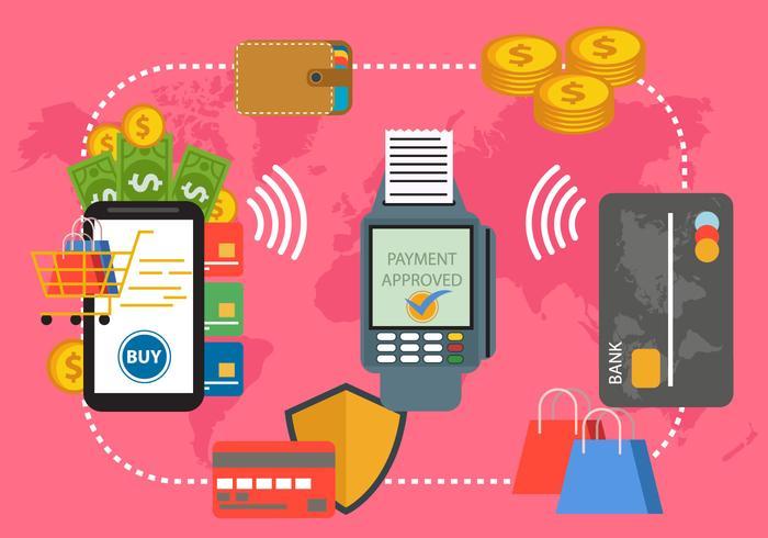 Pagamento con sistema NFC vettore