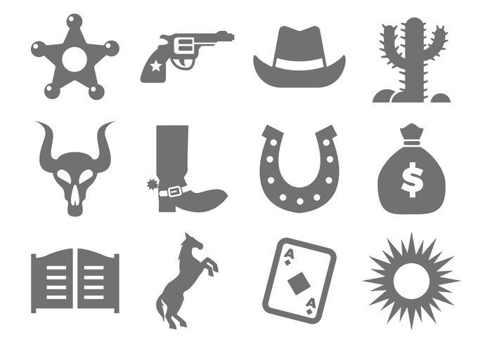 Vettore delle icone del cowboy