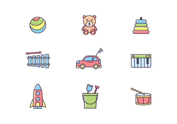 Icone di giocattoli colorati vettore
