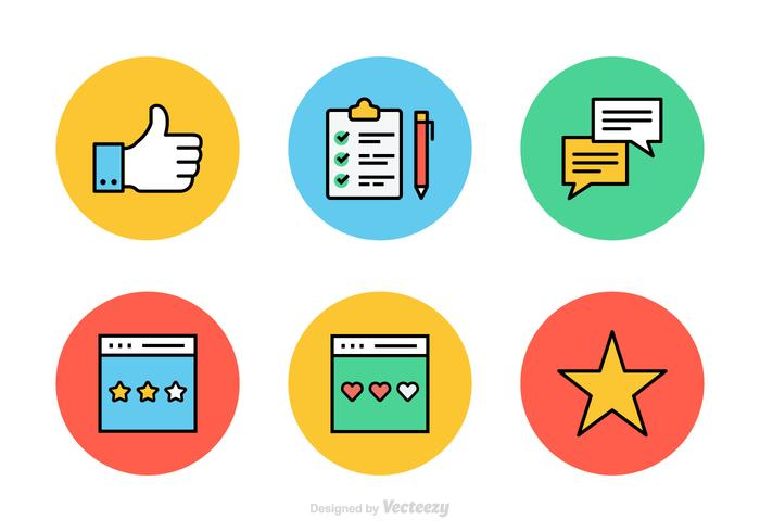 Testimonianze e feedback linea piatta icone vettoriali