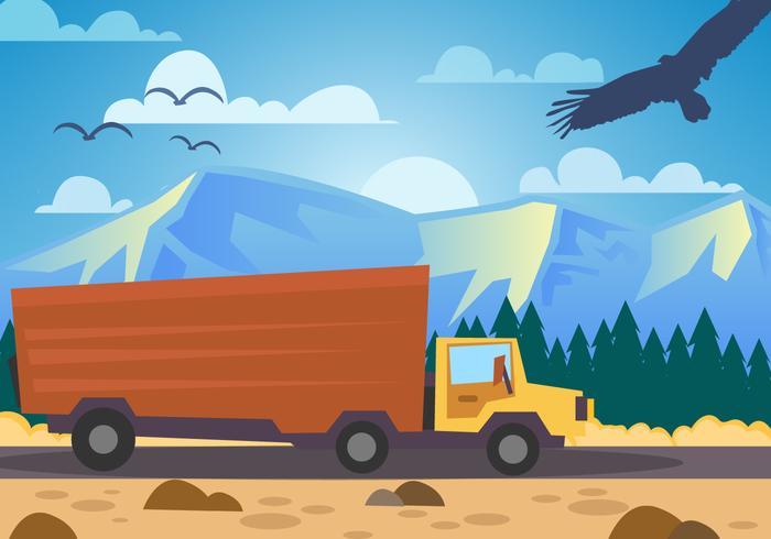 Vettore di consegna del camion del paesaggio della montagna