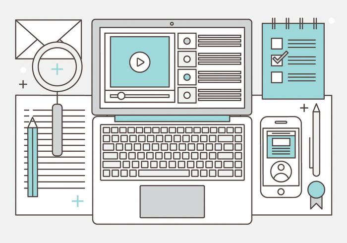 Illustrazione di Media digitali vettoriali gratis Design piatto