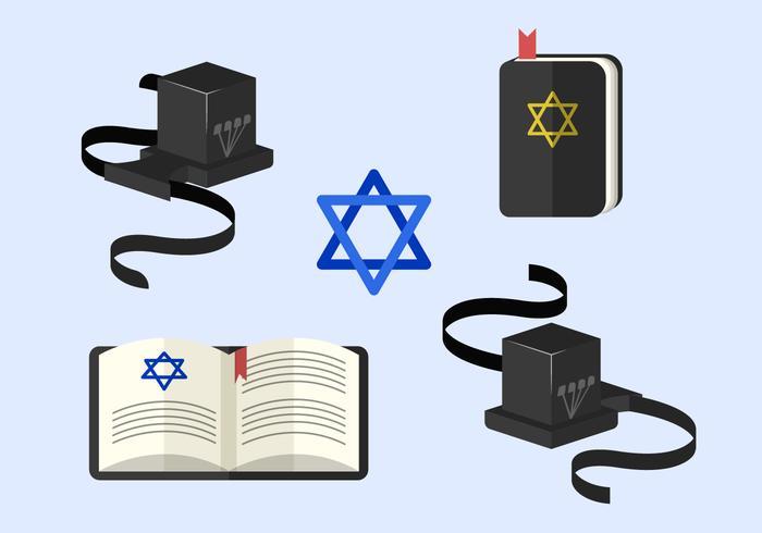 Tefillin ed ebraismo tradizionali simboli vettoriali elementi