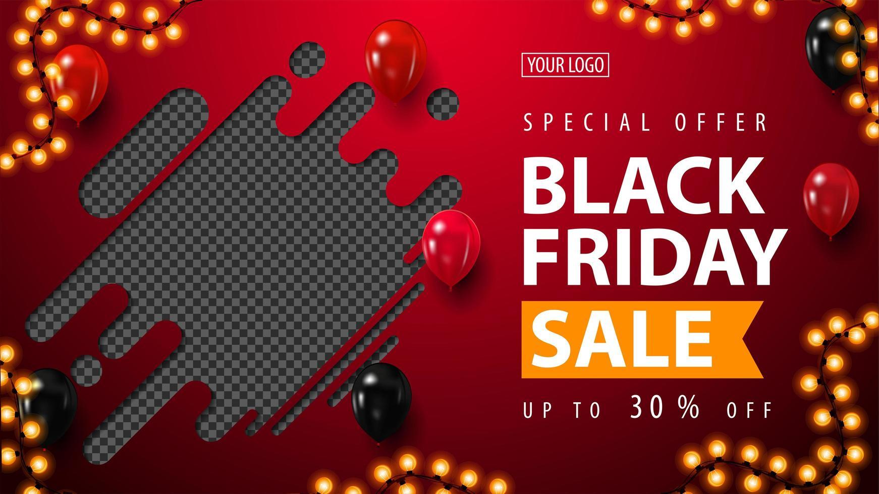 vendita venerdì nero, banner sconto orizzontale vettore