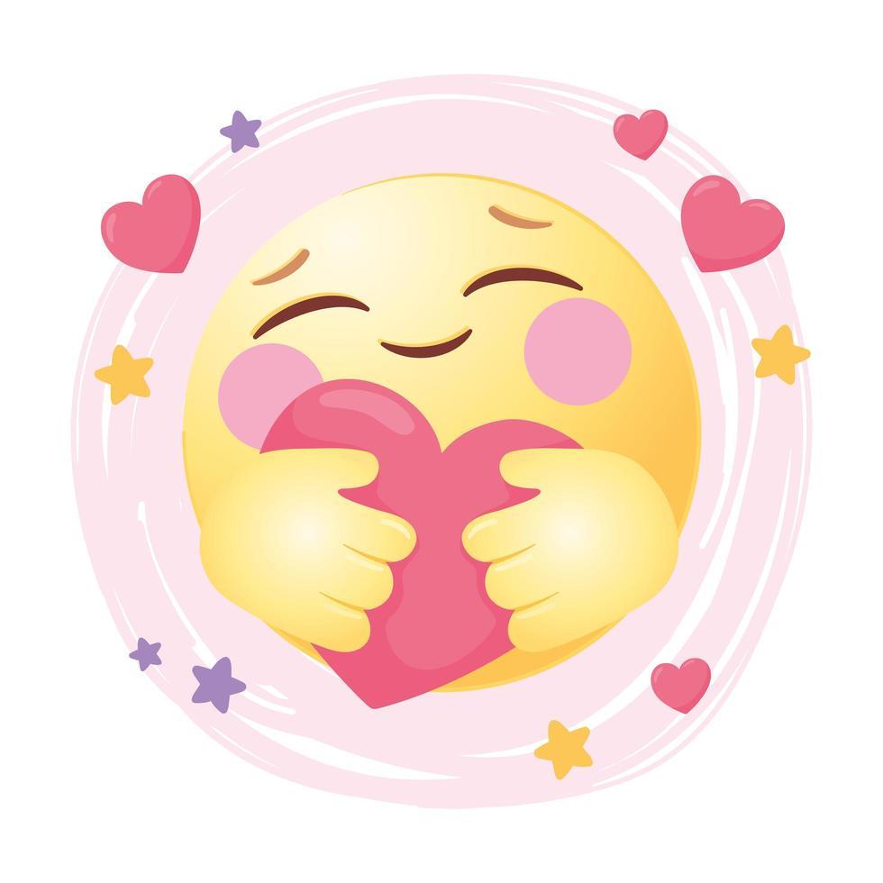 emoji dei social media che abbraccia un cuore vettore