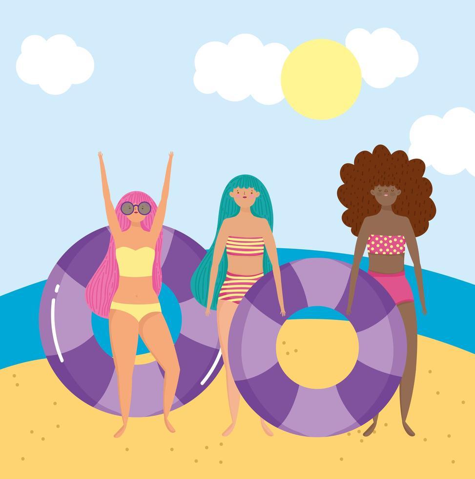 donne in spiaggia facendo attività estive vettore