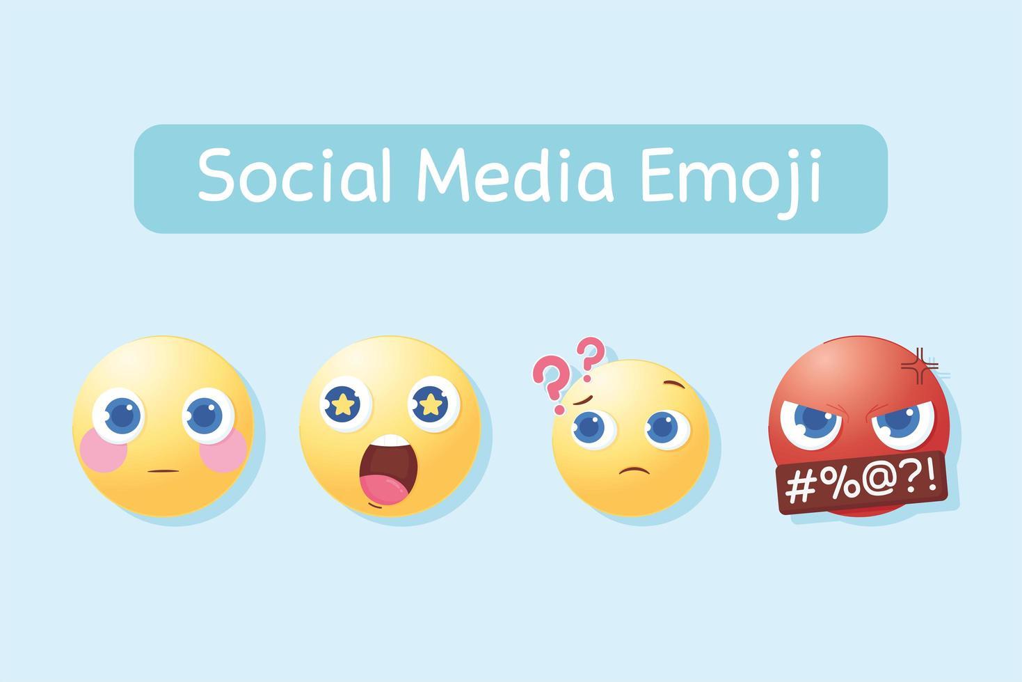 set di emoji social media vettore