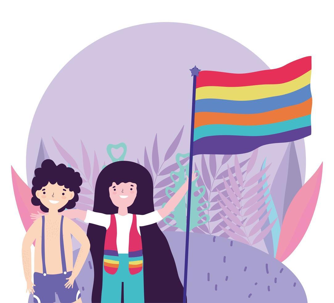 personaggi dei cartoni animati lgbtqi per la celebrazione dell'orgoglio vettore