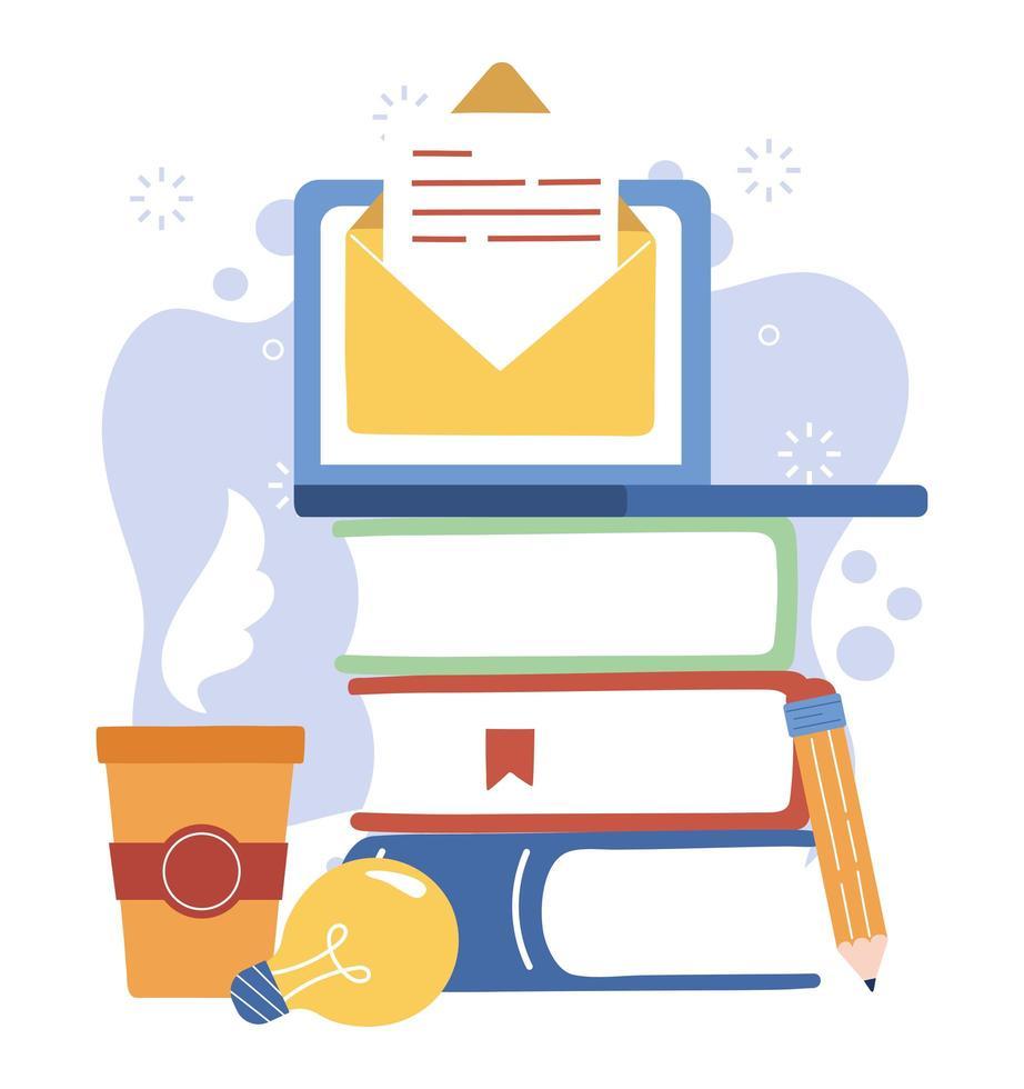 laptop, libri e tazza da caffè vettore