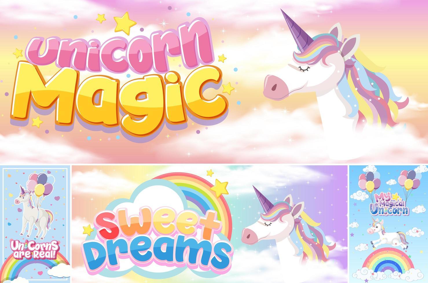 banner di unicorno carino sul colore di sfondo pastello vettore